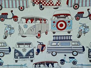 Happy Campers Van Scooters Moped Nautical / Blue  Fabric
