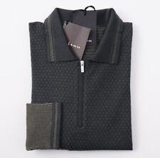 NWT $2395 KITON Dark Green Patterned Fine-Gauge Cashmere Sweater M Half-Zip Polo