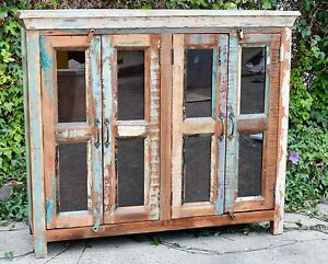 Recycled Reclaimed Timber Glass Rustic Country Cabinet Buffet Sideboard Vintage