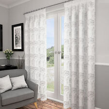 Lotus White & Silver Lined Voile Curtains