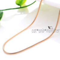 "18K ROSE GOLD GF SNAKE CHAIN for pendant MENS LADY SOLID NECKLACE 16""-30"" INCHES"