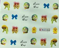 Nail Art Water Decals Kitten Cat Bow Happy Days Duck BLE1963