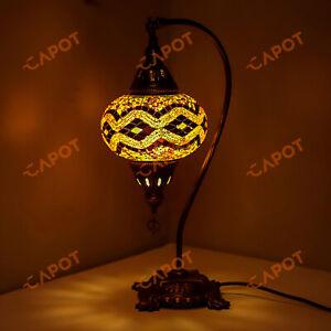 Turkish Moroccan Mosaic Lamp Handmade Tiffany Colorful Glass Desk Light & Bulb-L