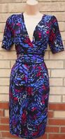 MARKS & SPENCER PURPLE BLUE SPOTTY ABSTRACT V NECK TULIP A LINE TEA DRESS 10 S