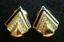 Vintage sm Christian Dior Earrings Designer blackenamel Clip On art deco Crystal