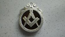 RARE ANTIQUE SILVER MASONIC JEWEL MASONS POCKET WATCH CHAIN FOB BIRMINGHAM 1893