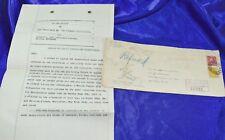 New York Enregistrée Return Reçu 1923 Housse & de Pompier Assurance Politique