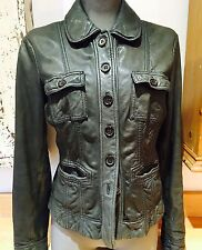 Marc O'Polo Distressed Style Leather Jacket Designer Dark Grey Luxe Soft 10