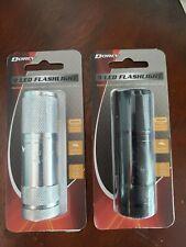 Pair of Dorcy 41-4246 9 LED Aluminum Flashlights * Black & Silver * Brand New