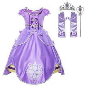 Princess Purple Sofia Costume Dress Party Kids Toddler For Girls Dress Set 3-10T