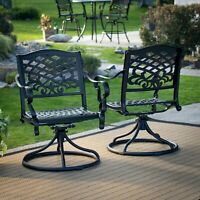 Outdoor Furniture Set of 2 Black Cast Aluminum Patio Dining Swivel Arm Chair New