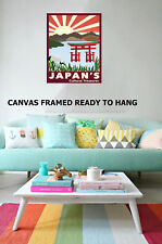 Art Print Vintage Japan Travel sun painting Canvas framed