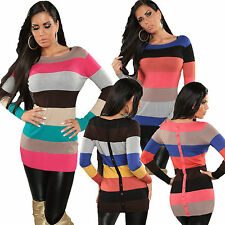 Gestreifte Feine Damen-Pullover mit Viskose