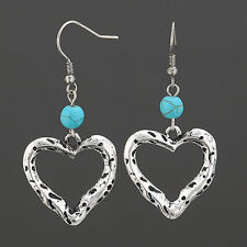 Antique Silver Hammered Open Heart Design Vintage Turquoise Drop Dangle Earrings