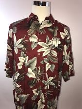 Pierre Cardin XL 100% Rayon Button Up Short Sleeve Red Floral PC125