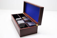 Wood Box for 50 Certified Coin Slabs PCGS, NGC, ANACS, ICG - Mahogany Finish