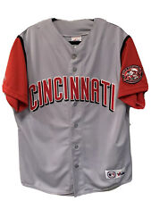 Cincinnati Reds Mens Majestic Vintage Baseball  World Champion Jersey Size Large
