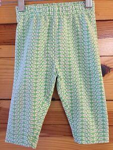 Hanna Andersson Green Print Capri Leggings Pants EUC Girls Size 80 18-24 Months