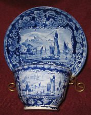 EARLY 19TH CENTURY STAFFORDSHIRE BLUE & WHITE CUP AND SAUCER CLIFFS OF DOVER ~A~