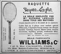 PUBLICITÉ 1928 RAQUETTE WILLIAMS ET CO LA SEULE EMPLOYÉE PAR SUZANNE LENGLEN