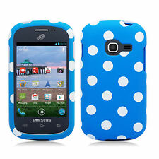 For Samsung Galaxy Centura S738C HARD Case Snap On Phone Cover Blue Polka Dots