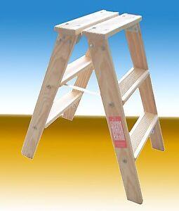 Holzleiter, 2 x 3 Stufen, Treppenleiter,Tritt