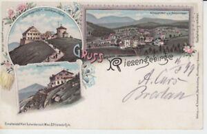 Ansichtskarte Schlesien  Gruß aus dem Riesengebirge  -  Krummhübel etc. Bahnpost