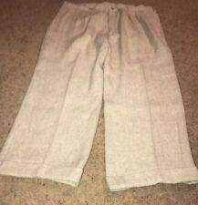Orvis Mens Boys sz 40 X 27 Beige Tweed Hemp Yak Pleated Cuffed Pants NEW