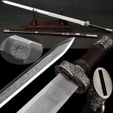 "38.5""Hand Foged Chinese Sword Longquan Sword Stainless Steel Alloy Tsuba #6691"