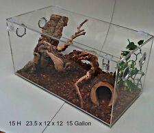 15- H Terrestrial 15 Gallon Acrylic Terrarium, Reptile, Snake Cage W Hinged Top