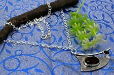 925 Sterling Silver Mozambique Garnet Gemstone Jewelry Necklace Size-17-18''