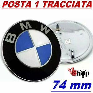 STEMMA BMW SERIE 1 3 5 6 FREGIO LOGO EMBLEMA COFANO ANTERIORE  POSTERIORE 74MM