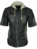 MENS BRAND NEW CASUAL HOODED SHIRT BIG SIZE IN DENIM DESIGNER BRAND TOP 2XL-8XL