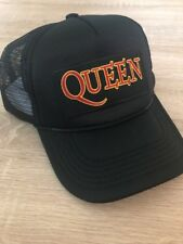QUEEN Trucker Hat Embroidered Patch Cap Music Rock Band Mesh Black Retro