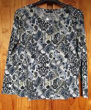 Paisley Print Size XL 16 18 Long Sleeve Jersey Knit Top – Blue Green Mix- Wen Ni