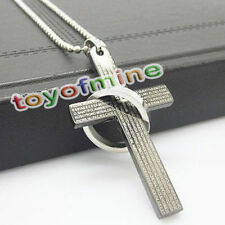 Men's Black Silver Ring Cross Stainless Steel Pendant Necklace Chain