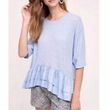 Anthropologie Light Blue Ruffled Shirt Women Large Akemi+Kim