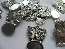 10 x 14x10mm Antique Silver Butterfly Pendant Settings bases bezels.14x10mm tray