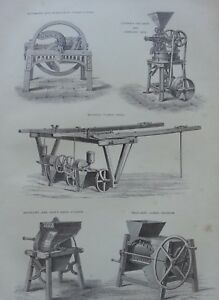 ANTIQUE PRINT DATED 1880 AGRICULTURE ENGRAVING FARMING MOODIES TURNIP DRILL ART