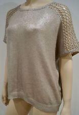 VELVET Silver Gold Metallic Sheen Loose Short Sleeve Knitwear Jumper Sweater Top