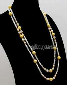 5mm Round White 10mm Yellow Pearl Necklace for Women Crystal Long Necklace 50''