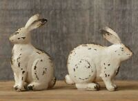 Primitive BUNNIES 2 pcs Small White Sitting Farmhouse Cottage Chic Distressed