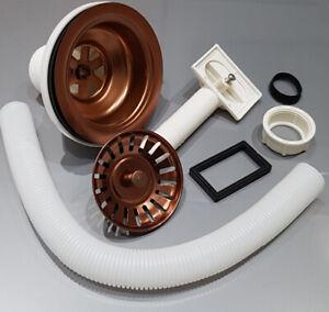 Copper Effect Basket Strainer Kitchen Waste with Rectangle Overflow-Kitchen Sink