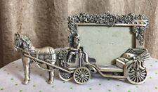 "W.F.Pewter Picture Frame 3D Horse Drawn Carrage Prom Wedding 3.5""x 2.5"" Picture"