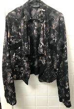 Glassons Drape Jacket Size 10 Black Grey EUC Abstract Print