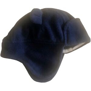 Baby Gap Navy Blue Bear Cap 0 To 6 Months Hat Lined Plush Material Ear Flaps
