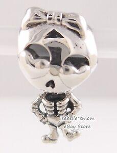SKELETON GIRL Authentic PANDORA Silver HALLOWEEN Charm 799070C00 NEW w POUCH!