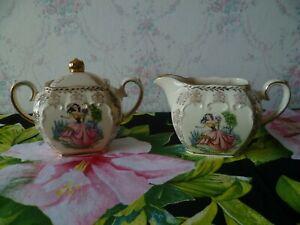 Vintage Sadler Cube Shape Milk Jug & Sugar Bowl From Teapot Set Dainty Miss