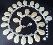 MIRIAM HASKELL Fan Shaped Glass Pearl Rhinestone Rhondel Crystal Necklace