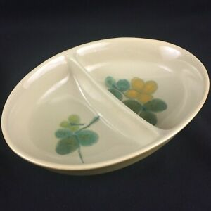"VTG Divided Vegetable Bowl 10"" Franciscan Pebble Beach Yellow Green Floral USA"